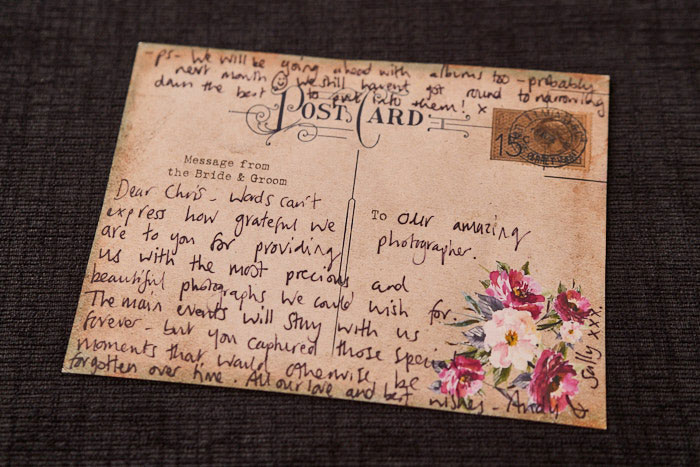 Post Card saying thank you for their wedding photos